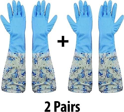 HOKIPO Reusable PVC Latex Long Elbow Length Kitchen Gloves (Blue) -2 Pair product image