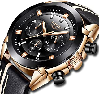 LIGE Watches for Men Sports Chronograph Waterproof Analog Quartz Watch with Black Leather Band Classic Casual Big Face Mens Wrist Watch Gold Black …