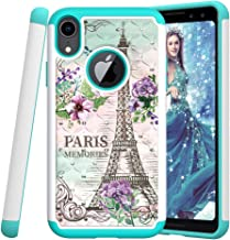 HMTECHUS iPhone XR case Rhinestone Bling Glitter for Girls Women Slim Hybrid Soft TPU Bumper Hard PC Shock Absorptio Protective Cover for iPhone XR - Diamonds 2 in 1 Paris Tower YB