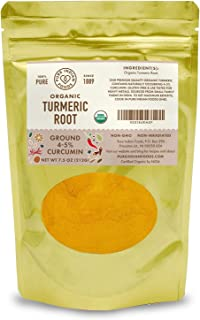 Organic Turmeric Powder Spice 7.5 oz - Freshly Packed in Resealable Bag