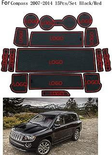 Busirde 15pcs Set Titular de una Puerta Interior de la Puerta Ranuras coj/ín de la Taza Antideslizante Groove Mats reemplazo para Jeep Compass 2007-2014