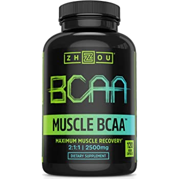Zhou Nutrition Muscle BCAA™ - Branched Chain Amino Acids with Optimal 2:1:1 Ratio - Build Muscle, Improve Recovery and Increase Endurance, 120 BCAA Capsules.