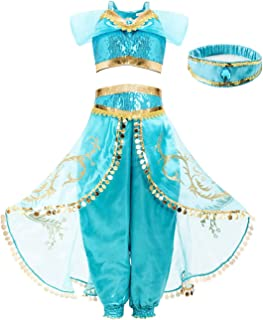 Princess Jasmine Costume for Girls Kids Dress Up Outfit Party Supplies