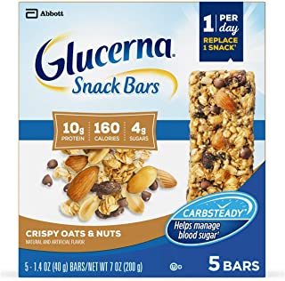 Glucerna Snack Bars, to Help Manage Blood Sugar, Diabetes Snack Replacement, Crispy Oats & Nuts, 1.41-Oz bar, 20 Count