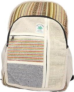 Mochila de cáñamo, mochila diaria/mochila para la escuela, viajes, ocio, al aire libre, naturaleza, con compartimento para portátil, hecha a mano en Nepal, modelo 114.1