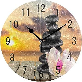 Use7/Home Decor Fleur dorchid/ée Zen Stone en Bambou Paysage Nature Rond Acrylique Horloge Murale Non tic-tac Horloge silencieuse Art pour Le Salon Cuisine Chambre /à Coucher