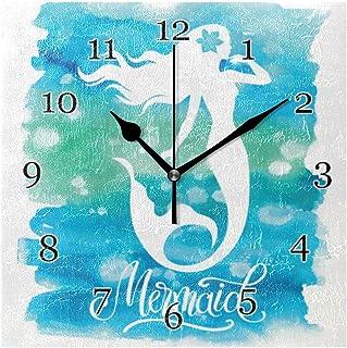 Vattenfärg hav sjöjungfru väggklocka tyst icke-tickande fyrkantig konstmålning klocka för hem kontor skoldekor
