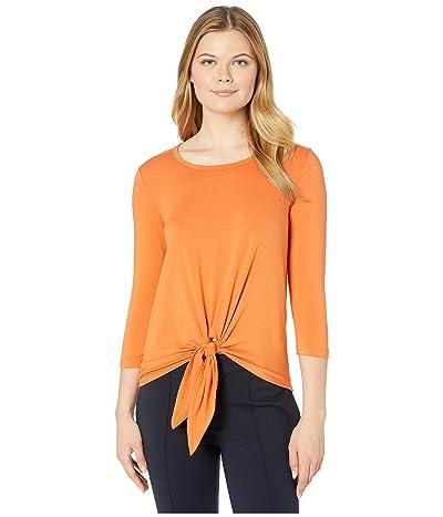 Karen Kane 3/4 Sleeve Tie-Front Top (Orange) Women