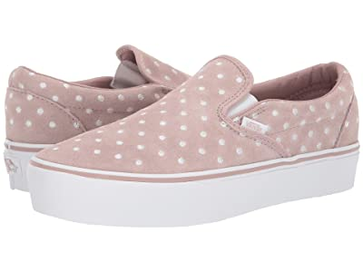 Vans Classic Slip-On Platform ((Suede Polka Dot) Shadow Grey/True White) Slip on Shoes