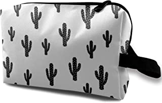 Black Cactus White Background Travel Makeup Cute Cosmetic Case Organizer Portable Storage Bag for Women