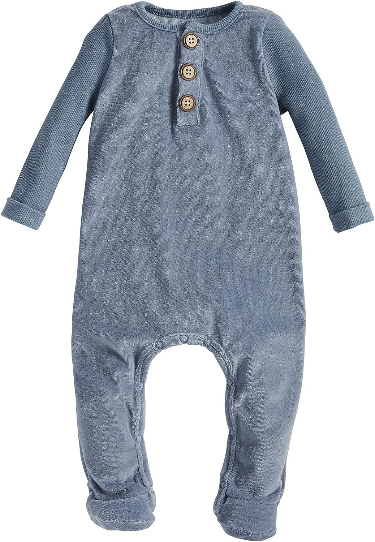 Mud Pie Baby Boys' Sleeper Blue Velour Very popular lowest price Slate