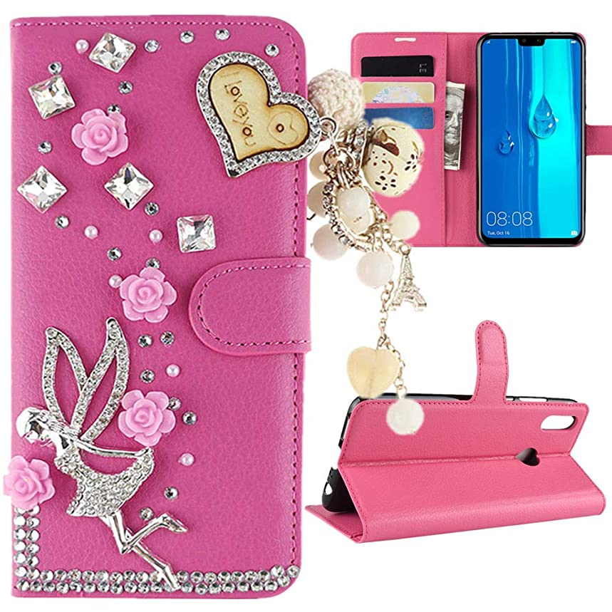 Strug for Huawei Y9 (2019) Case,3D Luxury Bling Diamond PU Leather Card Slots fold Wallet Kickstand Protective Case Cover for Huawei Y9 2019(Angle Tassel)