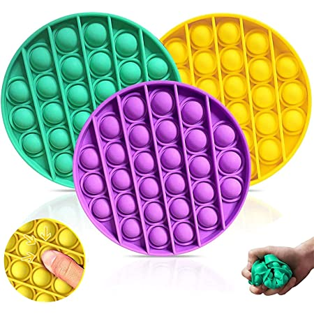 Squeeze Sensory Toy Fidget Toys for Adults or Kids Need Stress Reliever Silicone Stress Reliever Toy Push Pop Bubble Sensory Fidget Toy 3PCS Stress Bubble Toys for Anxiety Orange+Yellow+Wathet