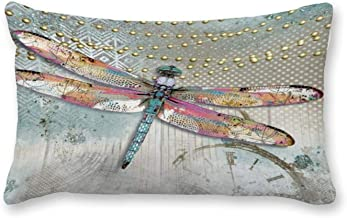 Decorative Lumbar Pillow Covers Cotton It's Your Time to Shine Dragonfly Throw Pillow Covers 12x26 Inch for Sofa