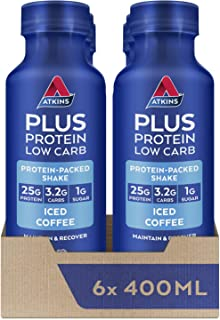 Atkins Plus Protein Low Carb Low Sugar Iced Coffee Shake, 400ml, Pack of 6