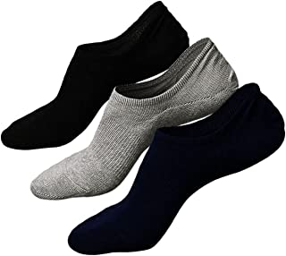 Mens No Show Trainer Socks Invisible Non Slip Athletic Cotton Ankle Crew Socks, 3/6 pairs