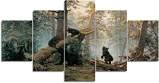 Large Wall Art on Canvas Painting Living Room Morning in a Pine Forest Black Bears Playing on Fallen Broken Trees Picture Stretched Framed Ready to Hang Home(60'' W x 32''H)