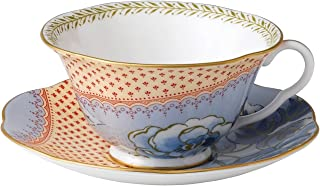 Wedgwood Harlequin Butterfly Bloom Teacup and Saucer Set, Blue Peony