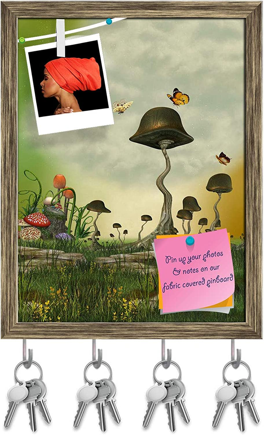 Artzfolio Landscape with Butterfly & Mushrooms Key Holder Hooks   Notice Pin Board   Antique golden Frame 12 X 15.7Inch