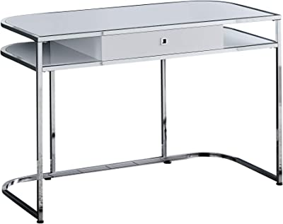 """Monarch Specialties Contemporary Home and Office-1 StorageDrawerand2 Open Shelves Computer Desk, 48"""" L, GlossyWhite
