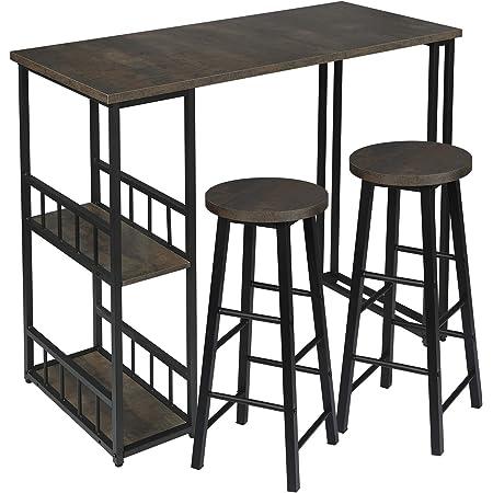 WOLTU 1 X Table de Bar avec 2 tablettes + 2 X Tabourets de Bar Structure en métal Plateau en MDF,Noir+Rouille BT25srs+BH130srs-2