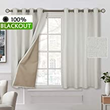 BGment 100% Blackout Curtains with Liner for Bedroom, Grommets Thermal Insulated Textured Linen Lined Curtains for Living Room (52 x 45 Inches, 2 Panels, Ivory White)