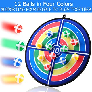 Cloth Fabric Safe Dart Board Game Set for Kids and Adult Fashion Pattern with 12 Hook and Loop Sticky Balls Family Fun Best Toy Gift Boys and Girls Indoor Outdoor Classic Games Diameter 14.2 Inches