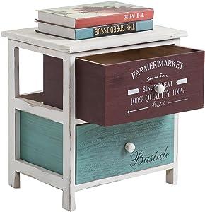 IDIMEX Table de Chevet Coloris Table de Nuit 2 tiroirs colorés en Bois de Paulownia Style Shabby Chic Vintage Rustique rétro Blanc