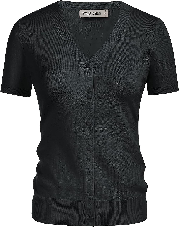 GRACE KARIN Women's Long Sleeve Button Down Sweater Classic V-Neck Knit Cardigan