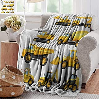 Throw Blanket for Couch,Boys,Abstract Images of Construction Vehicles and Machinery Trucks Bulldozer Crane,Earth Yellow Black,Flannel Blankets Super Soft Warm Thick Blanket for Home 50
