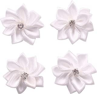YAKA 60Pcs White Satin Ribbon Flowers Bows Rose W/Rhinestone Appliques Craft Wedding 1.1inch