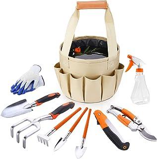 HUABEIGM 10 Piece Garden Tools Set, Aluminum Heavy Duty Gardening, Gardening Gifts for Women with Soft Rubberized Non-Slip...