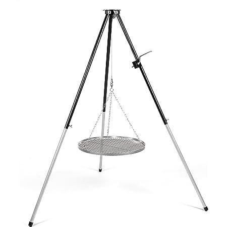 CookKing Stand-Grill Dreibein Grill massiv Schwarzstahlgitter 200cm und Kurbel 80cm