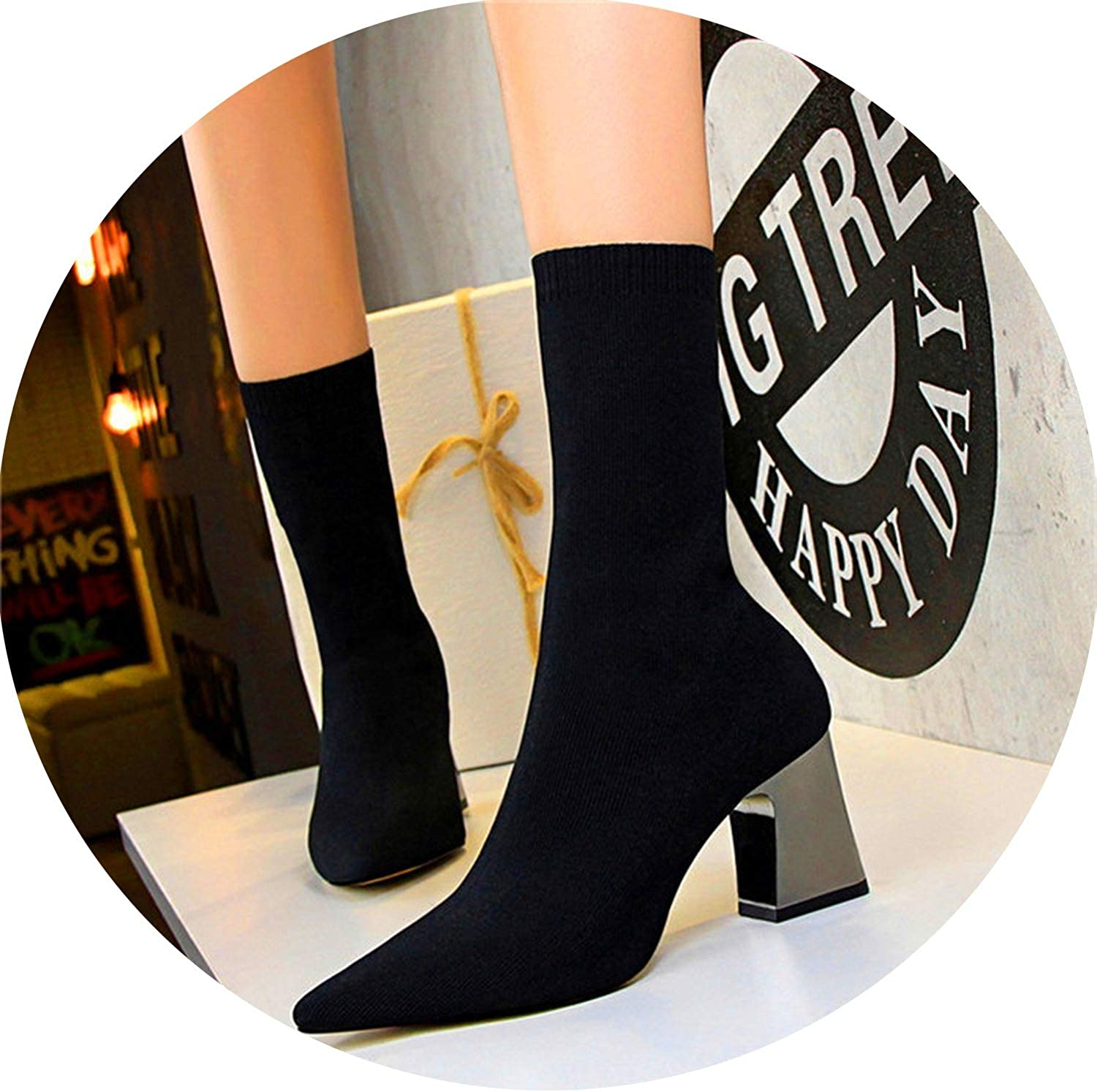 Meet- fashion Pointed Toe Women's Short Boots Solid Knitting Metal Square Heels 7cm Boots Women's High Heels