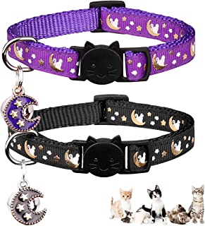 2PCS Breakaway Cats Collars with Bell Moons Stars Adjustable Kitten Collars with Pendant Glow in The Dark (Purple+Black)