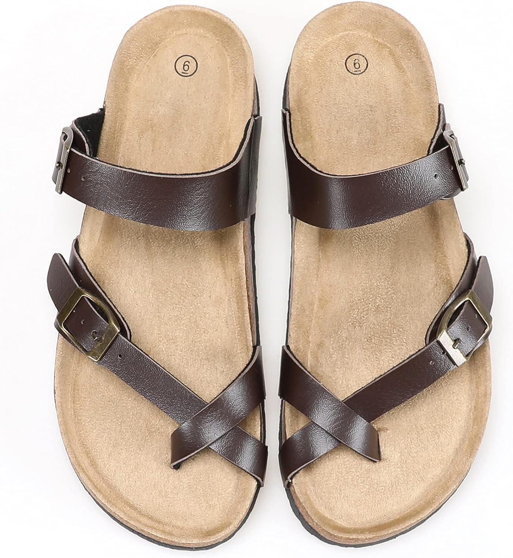 Womens Slide Sandals Cork Footbed,Adjustable Buckle Slip on Sandals with +Comfort Arch Support