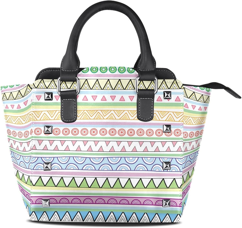 My Little Nest Women's Top Handle Satchel Handbag Multicolor Boho Stripes Ethnic Tribal Circles Ladies PU Leather Shoulder Bag Crossbody Bag