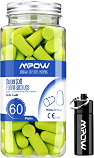 Mpow 055A Ear Plugs 60 Pairs, Super Soft Foam Ear Plugs 34dB SNR, Noise Reduction Hearing Protector, with Aluminum Carry C...