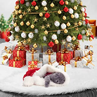 AWLGAK Christmas Tree Skirt 36 inches Snowy White Thick Faux Fur Xmas Tree Skirt for Christmas Decorations (36in)
