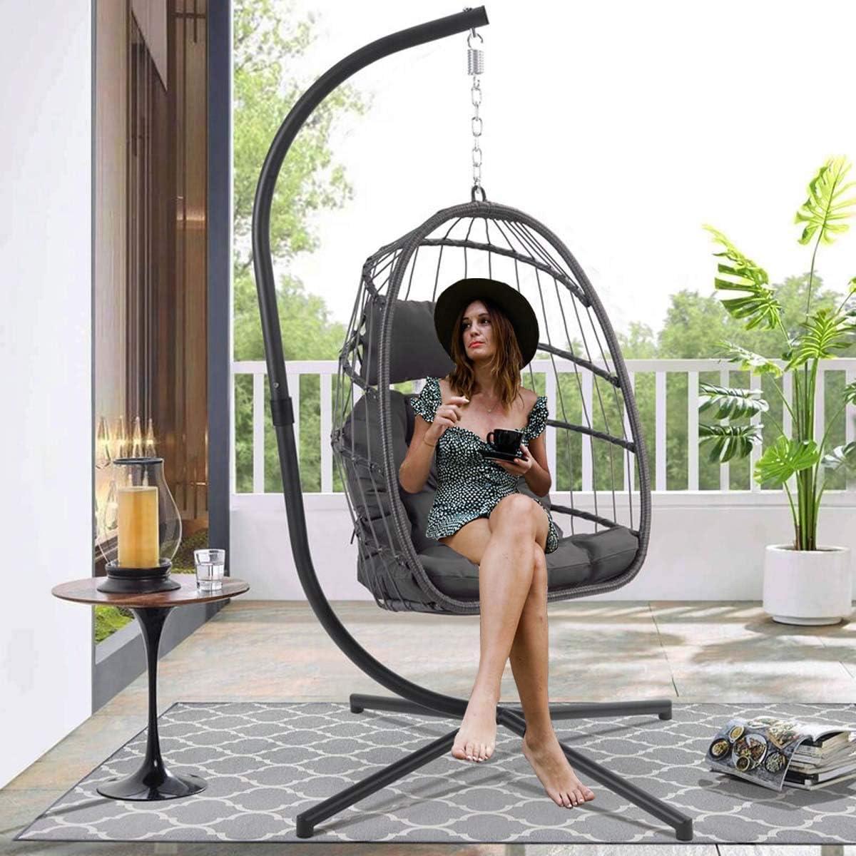 RADIATA Foldable 売り出し Wicker Rattan 送料無料新品 Hanging Chair with Egg Stand Swi