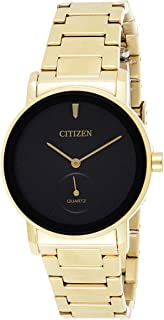 Citizen Analog Black Dial Women's Quartz Standard Stainless Steel with Gold Plating Strap Watch-EQ9062-58E