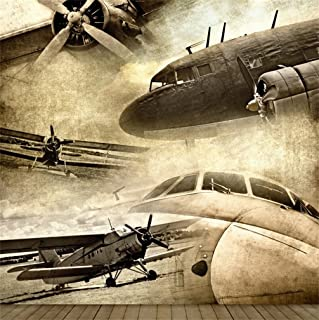 CSFOTO 8x8ft Background for Grunge Retro Aviation Old Ancient Plane Photography Backdrop Fighter Plane Nostalgic Warfare Freedom Independence History Soldier Photo Studio Props Vinyl Wallpaper