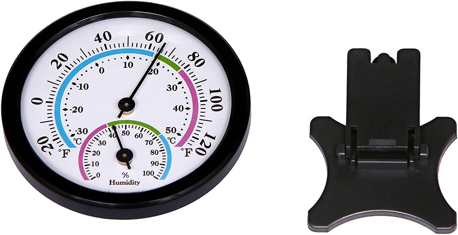 Room Offices Outdoor LayscoPro Mini Indoor Thermometer Hygrometer Analog 2 in 1 Temperature Humidity Monitor Gauge for Home Display Mechanical Diameter 75mm-2 Pack -Black No Battery Needed