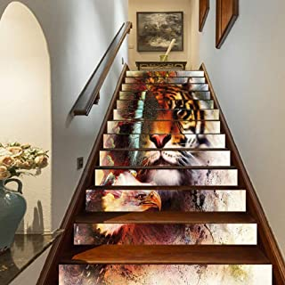 Tiger Staircase Stickers,Various Symbols of Nature Large Bengal Cat Bald Eagle Butterfly on Vibrant Backdrop Decorative Self-Adhesive Wall Stair Stickers Mural Wallpaper for Home Decor,39.3