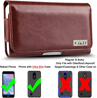 J&D Holster Compatible for LG Phoenix Plus Holster/LG K30 Holster/LG K10 2018 Holster/LG K10 2017 Holster/LG K20 V Holster with Belt Clip, PU Leather Pouch Case (Fit with Naked Phone or Slim Case On)