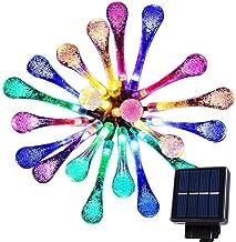 Goodia 20 LED luces carámbano gotas de agua solares Jardín hadas de la secuencia de las luces / 4,8 metros impermeables luces decorativas LED para al aire libre, jardín, patio, Navidad, Árbol de navidad, celebración de días festivos (Multicolor)