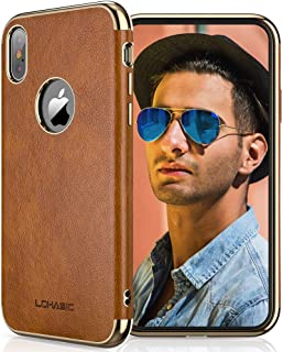 "LOHASIC for iPhone Xs Case, iPhone X Leather Cover, Luxury Slim Fit, Flexible Lightweight Bumper, Compatible with Apple iPhone Xs (2018) /X (2017) 5.8"" in Brown"