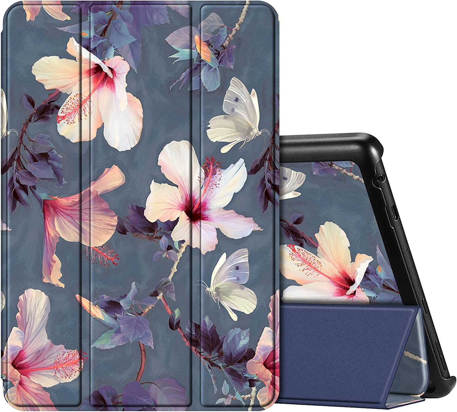 Fintie Case for All-New Amazon Fire HD 10 and Fire HD 10 Plus Tablet (Only Compatible with 11th Generation 2021 Release) - Ultra Lightweight Slim Shell Stand Cover Auto Wake/Sleep, Blooming Hibiscus