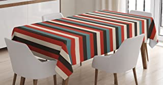 Ambesonne Striped Tablecloth, Vintage Retro Pattern Geometric 60's Style Red Black Teal and Beige Colored Print, Dining Room Kitchen Rectangular Table Cover, 52