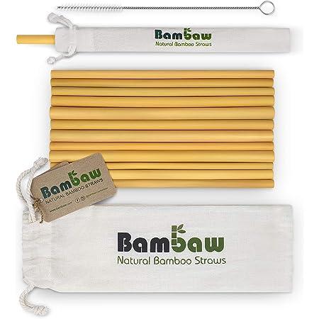 Pandoo Paquete de 12 pajitas 100% de bambú, incluido cepillo ...